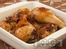 Рецепта Коледни печени пилешки бутчета с канела и мед в тава на фурна